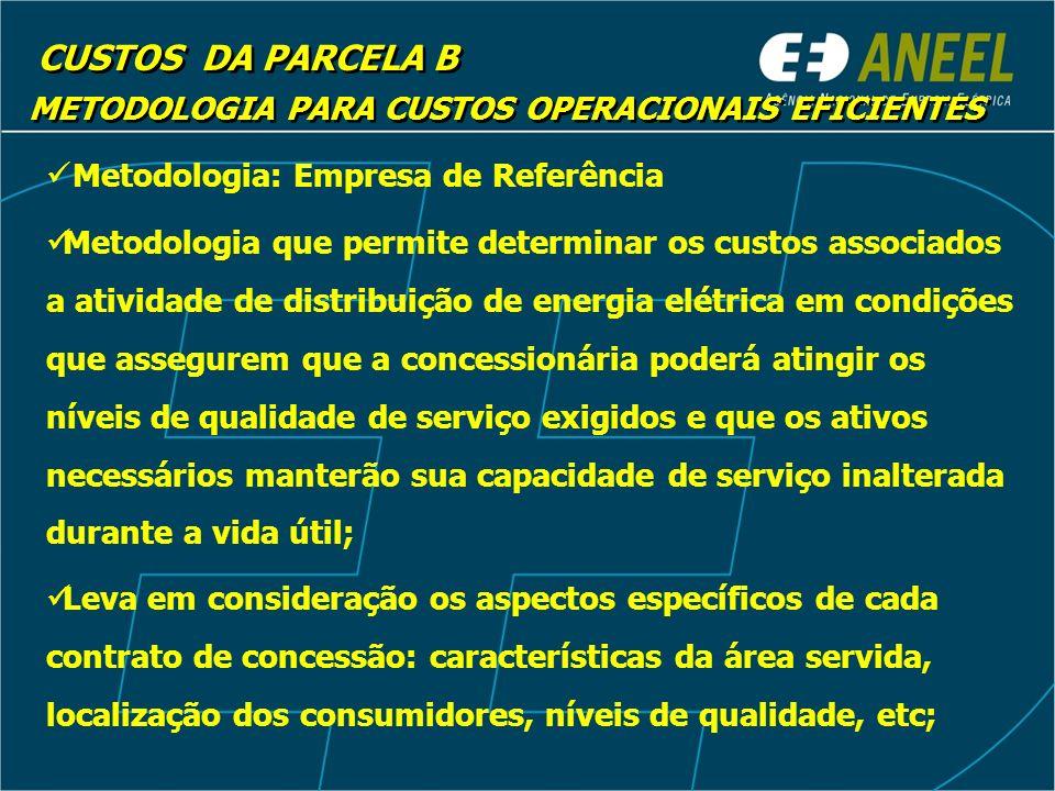 CUSTOS DA PARCELA B METODOLOGIA PARA CUSTOS OPERACIONAIS EFICIENTES