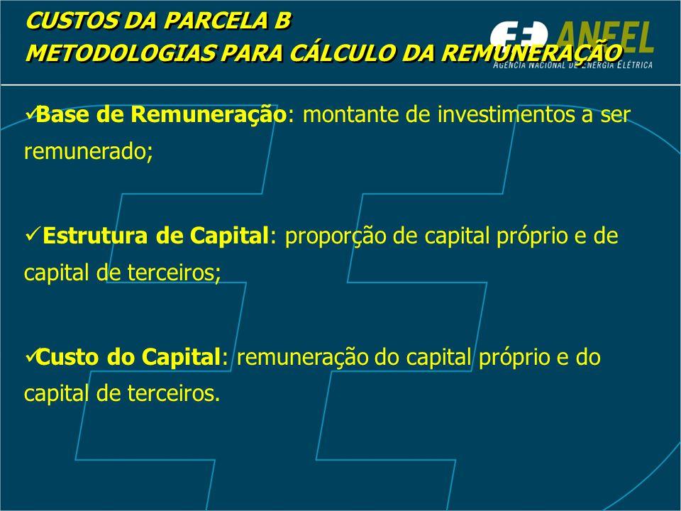 CUSTOS DA PARCELA B METODOLOGIAS PARA CÁLCULO DA REMUNERAÇÃO. Base de Remuneração: montante de investimentos a ser remunerado;