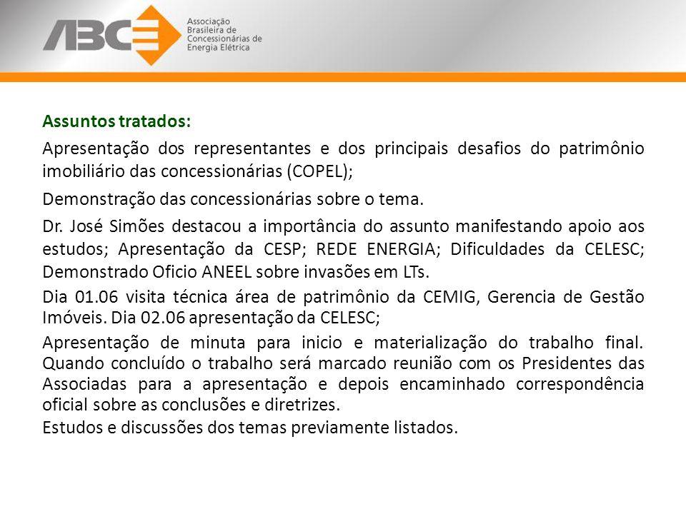 Assuntos tratados: Apresentação dos representantes e dos principais desafios do patrimônio imobiliário das concessionárias (COPEL); Demonstração das concessionárias sobre o tema.