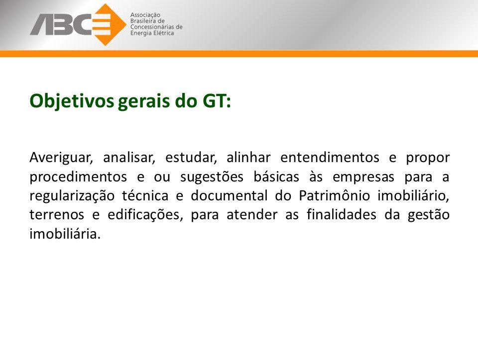 Objetivos gerais do GT: