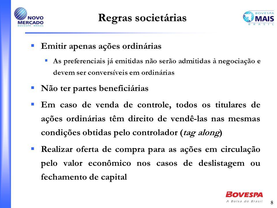 Regras societárias Emitir apenas ações ordinárias