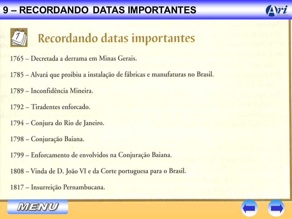 9 – RECORDANDO DATAS IMPORTANTES