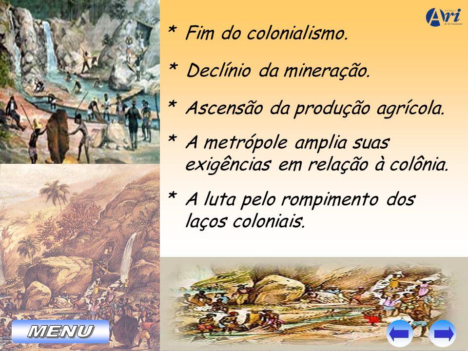 MENU * Fim do colonialismo. * Declínio da mineração.