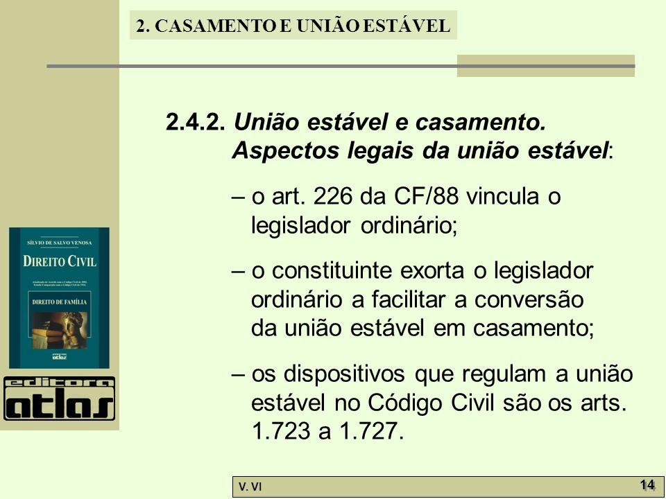 2.4.2. União estável e casamento. Aspectos legais da união estável: