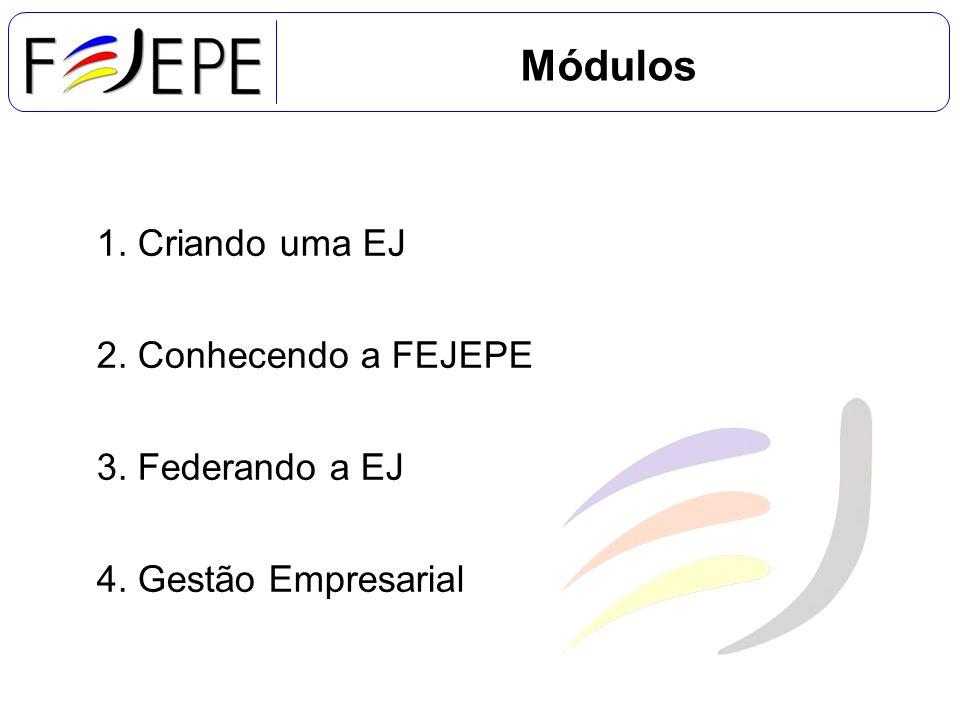 Módulos 1. Criando uma EJ 2. Conhecendo a FEJEPE 3. Federando a EJ