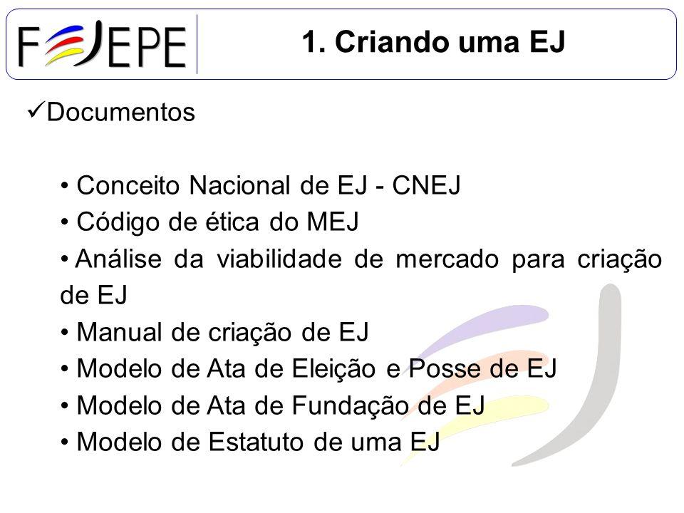 1. Criando uma EJ Documentos Conceito Nacional de EJ - CNEJ