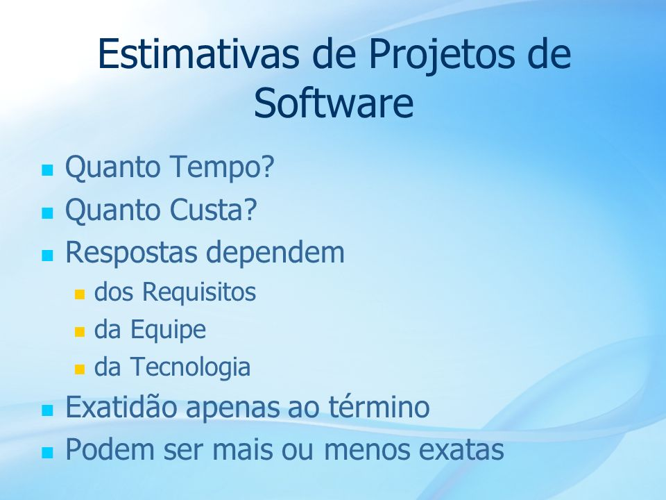 Estimativas de Projetos de Software