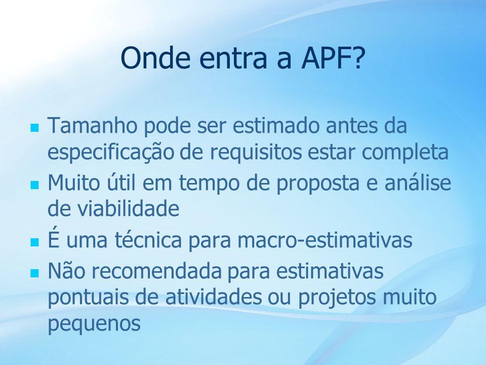 Onde entra a APF Tamanho pode ser estimado antes da especificação de requisitos estar completa.