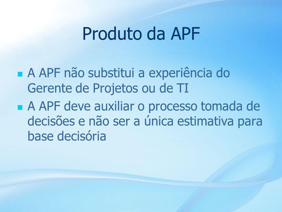Produto da APF A APF não substitui a experiência do Gerente de Projetos ou de TI.