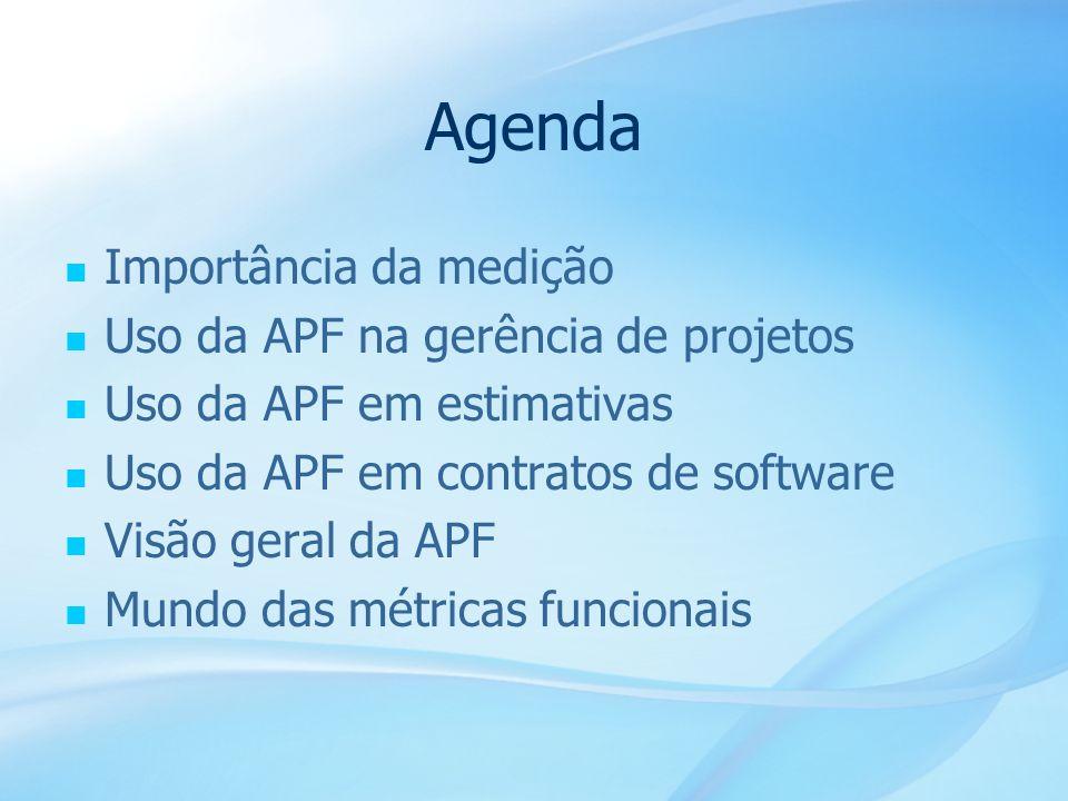 Agenda Importância da medição Uso da APF na gerência de projetos