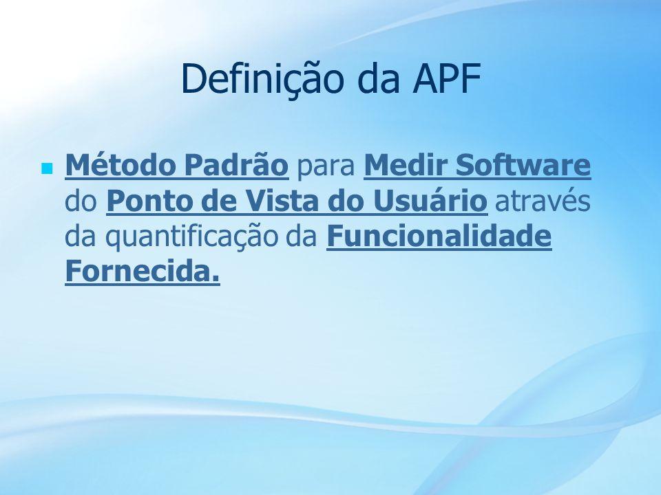 Definição da APF Método Padrão para Medir Software do Ponto de Vista do Usuário através da quantificação da Funcionalidade Fornecida.