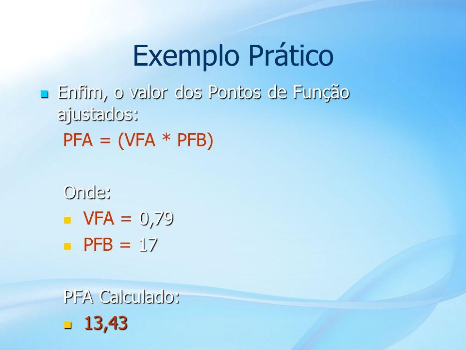 Exemplo Prático Enfim, o valor dos Pontos de Função ajustados: