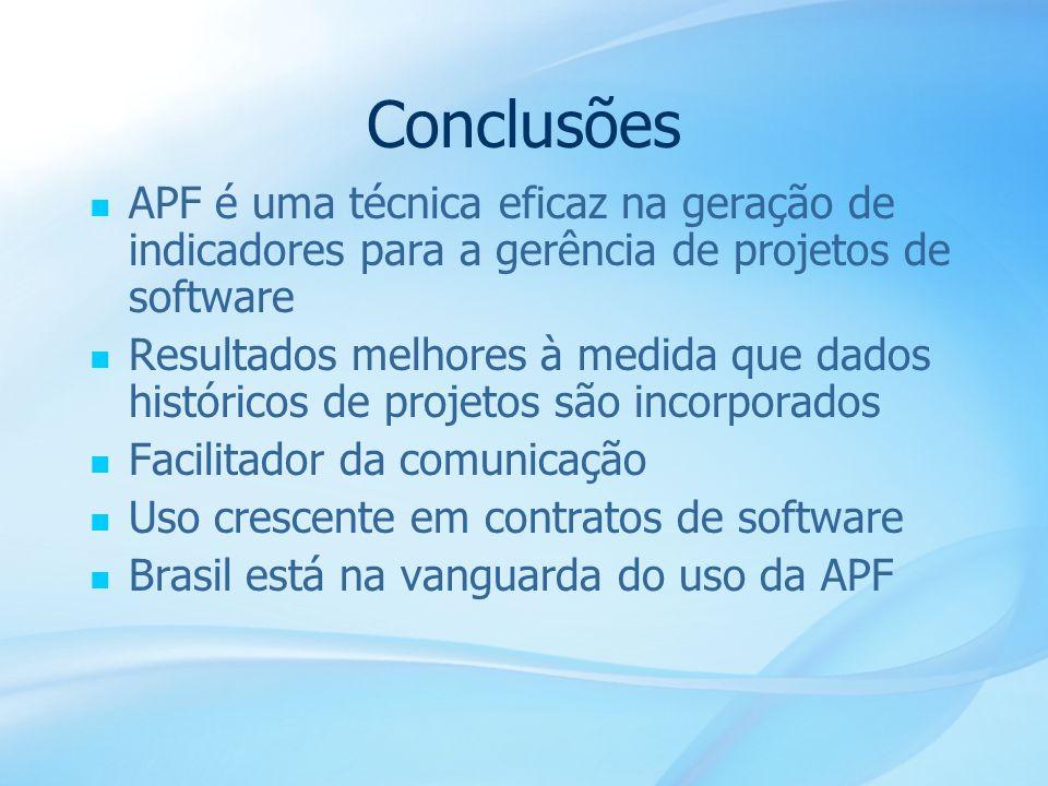 Conclusões APF é uma técnica eficaz na geração de indicadores para a gerência de projetos de software.