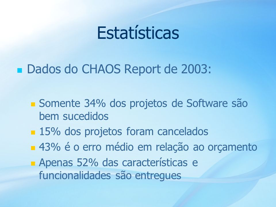 Estatísticas Dados do CHAOS Report de 2003: