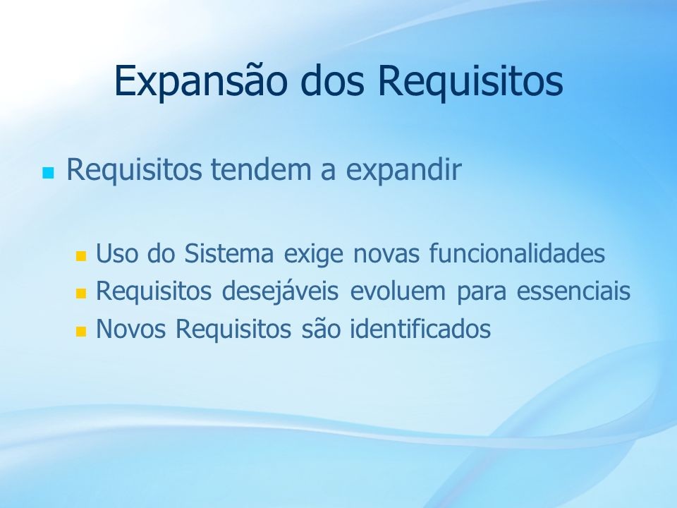 Expansão dos Requisitos