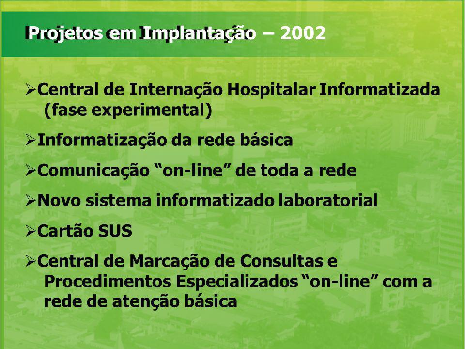 Projetos em Implantação Projetos em Implantação – 2002