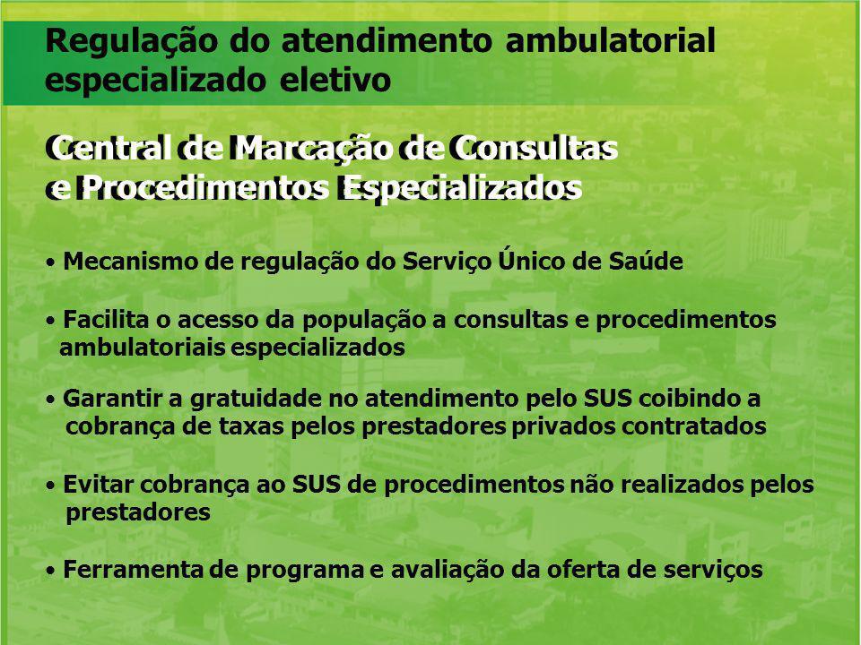 Regulação do atendimento ambulatorial especializado eletivo