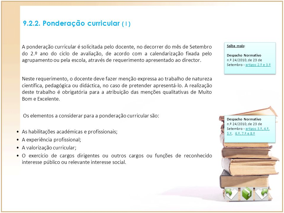 9.2.2. Ponderação curricular ( I )