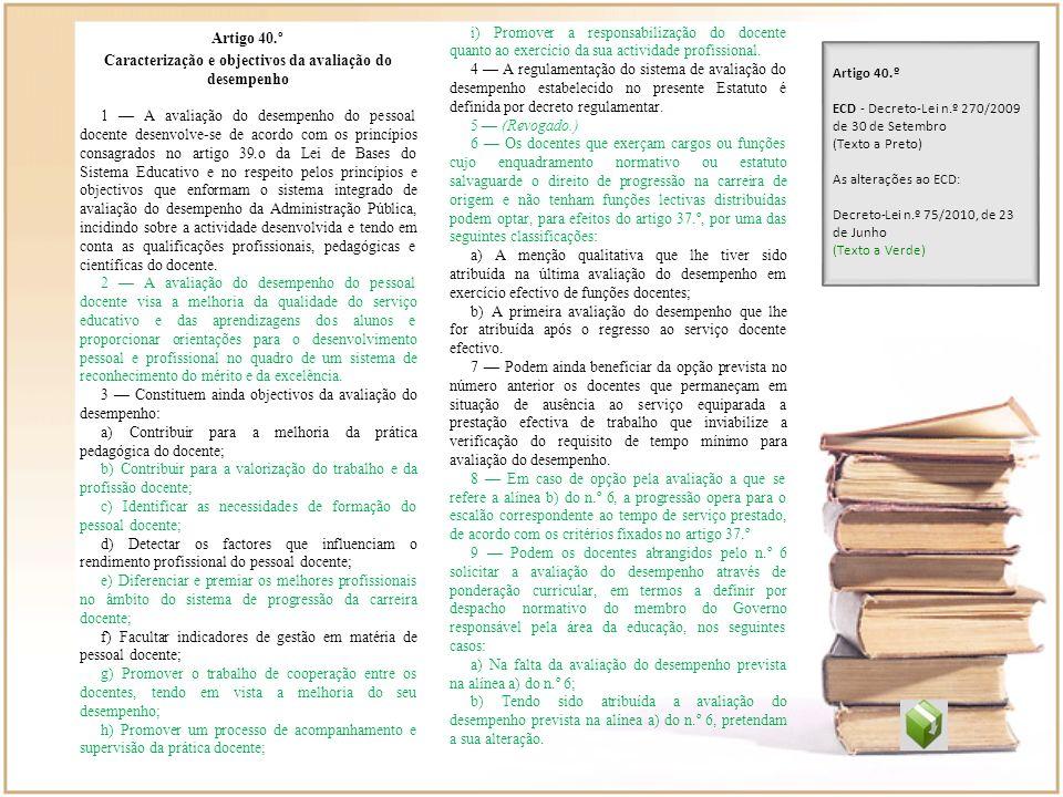 Caracterização e objectivos da avaliação do desempenho