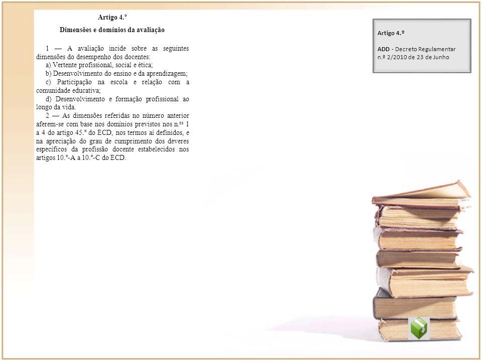 Dimensões e domínios da avaliação