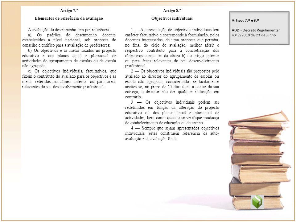 Elementos de referência da avaliação Objectivos individuais