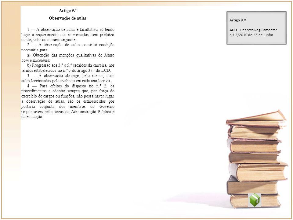 Artigo 9.º Observação de aulas.