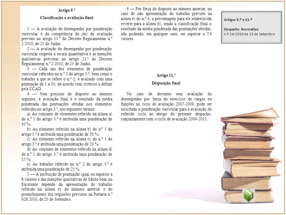 Classificação e avaliação final