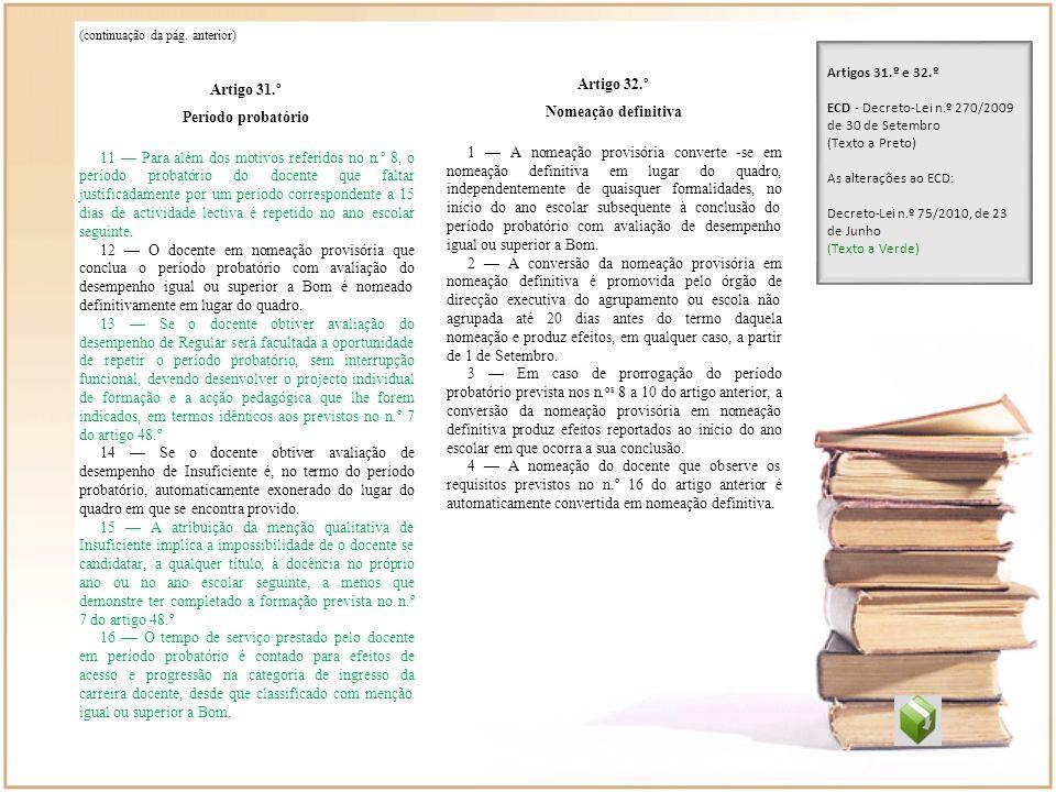 Artigo 31.º Artigo 32.º Período probatório Nomeação definitiva