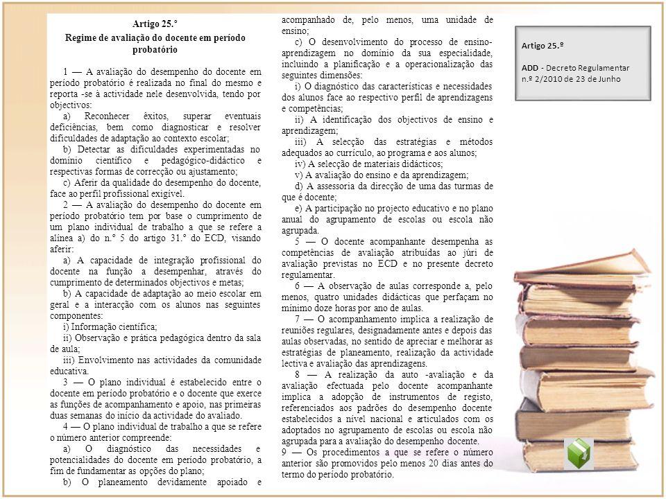 Regime de avaliação do docente em período probatório