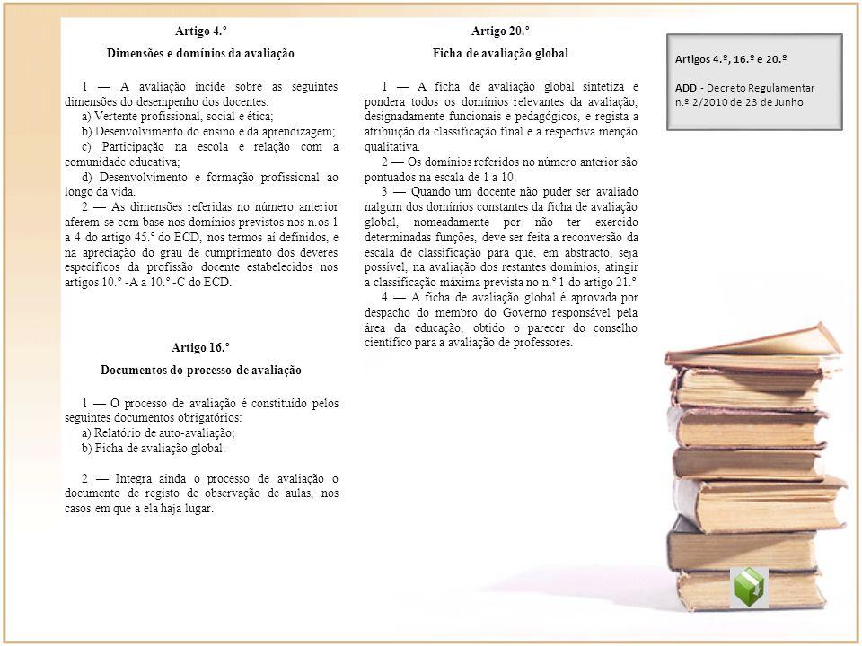 Dimensões e domínios da avaliação Ficha de avaliação global
