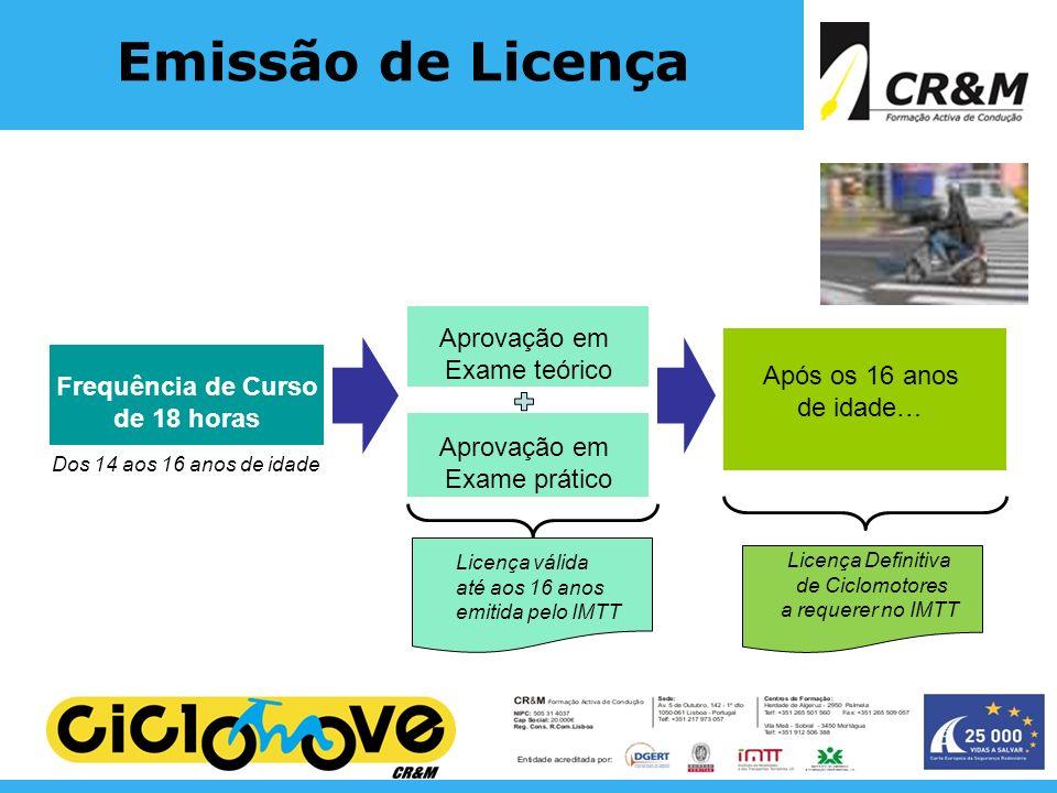 Emissão de Licença Aprovação em Exame teórico Após os 16 anos