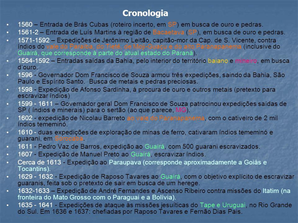 Cronologia 1560 – Entrada de Brás Cubas (roteiro incerto, em SP) em busca de ouro e pedras.