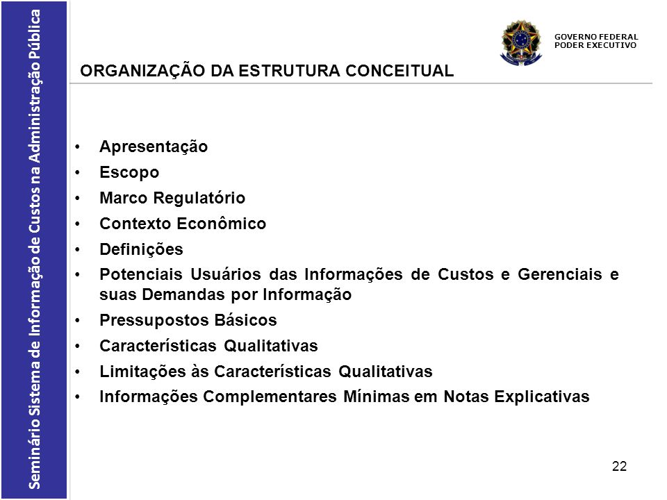 ORGANIZAÇÃO DA ESTRUTURA CONCEITUAL