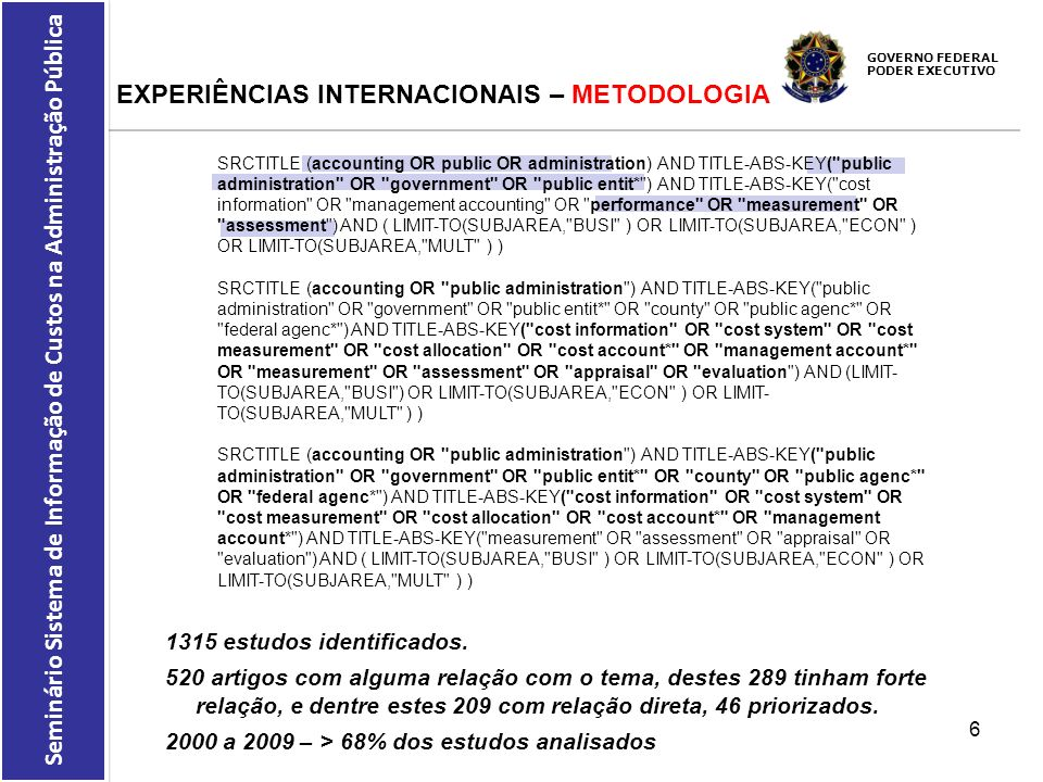 EXPERIÊNCIAS INTERNACIONAIS – METODOLOGIA
