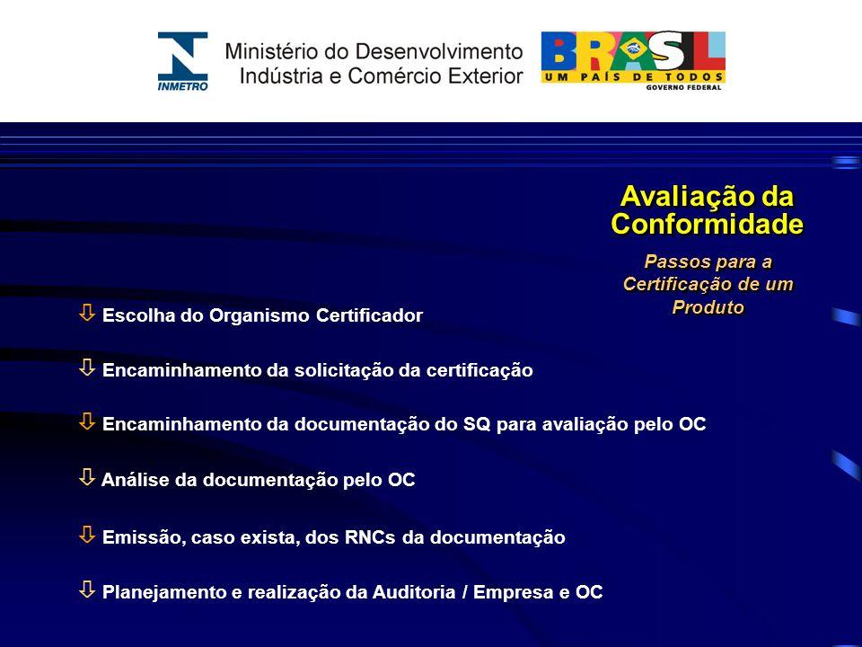 Avaliação da Conformidade Passos para a Certificação de um Produto