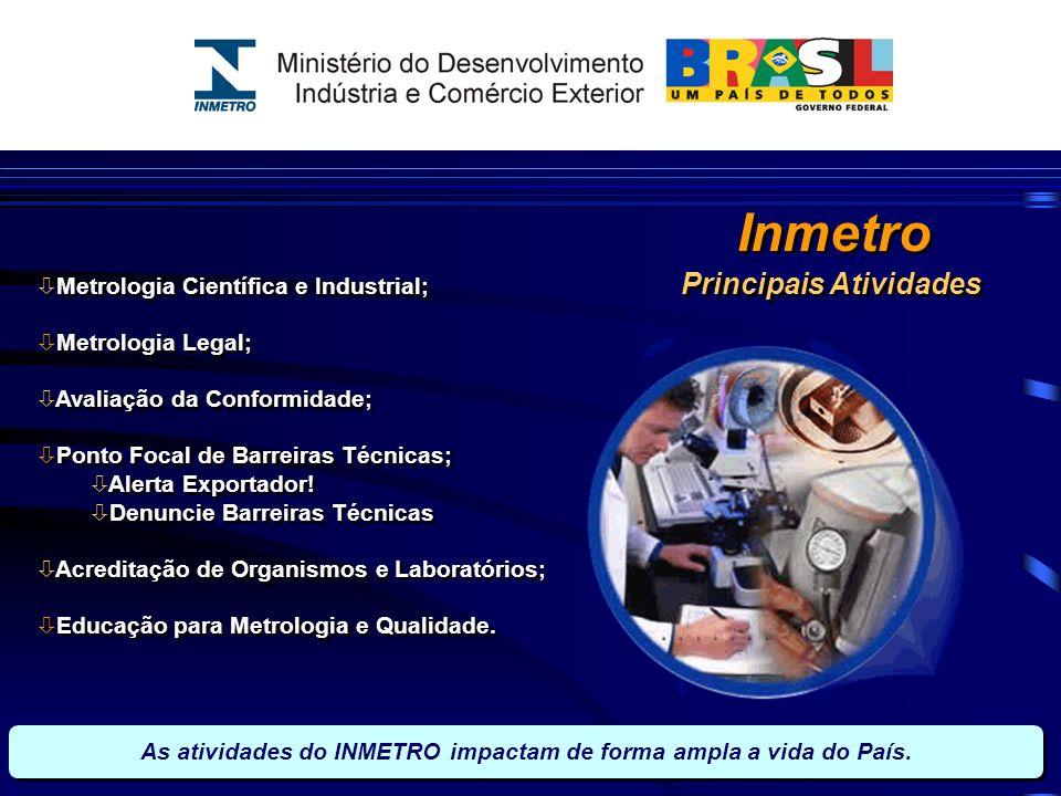 Inmetro Principais Atividades Metrologia Científica e Industrial;