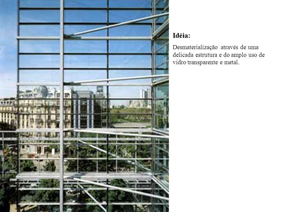 Idéia: Desmaterialização através de uma delicada estrutura e do amplo uso de vidro transparente e metal.