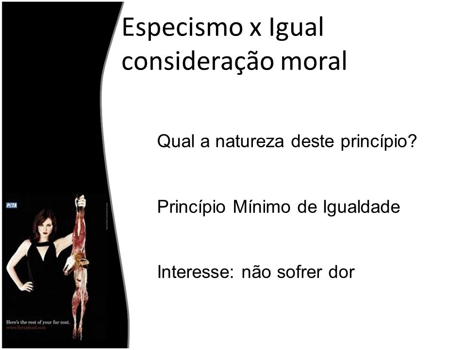 Especismo x Igual consideração moral