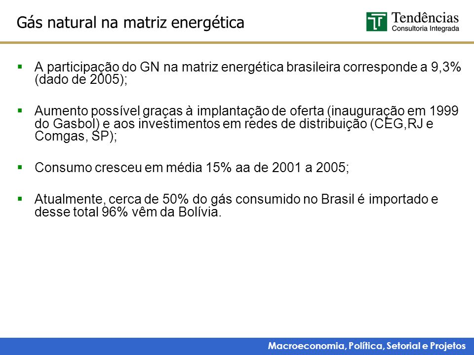 Gás natural na matriz energética