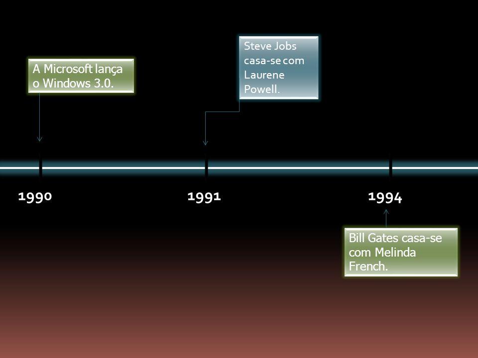 1990 1991 1994 Steve Jobs casa-se com Laurene Powell.