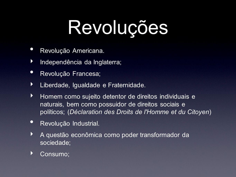 Revoluções Revolução Americana. Independência da Inglaterra;