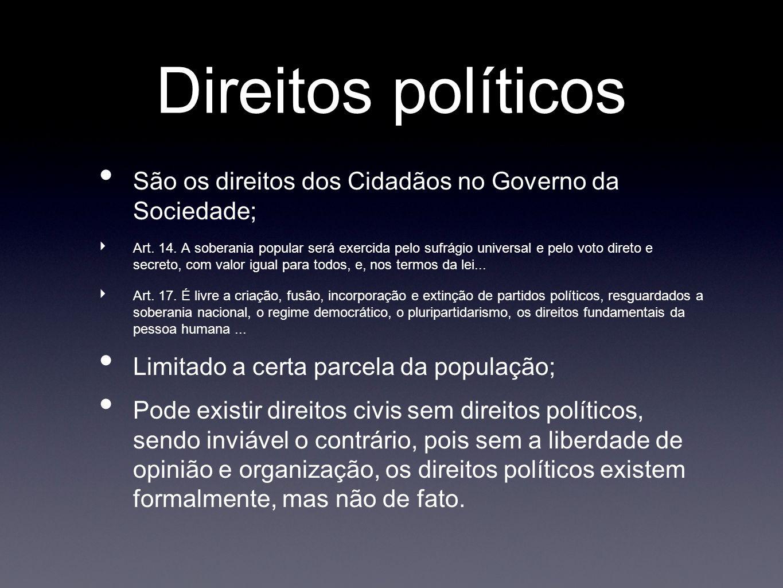 Direitos políticos São os direitos dos Cidadãos no Governo da Sociedade;