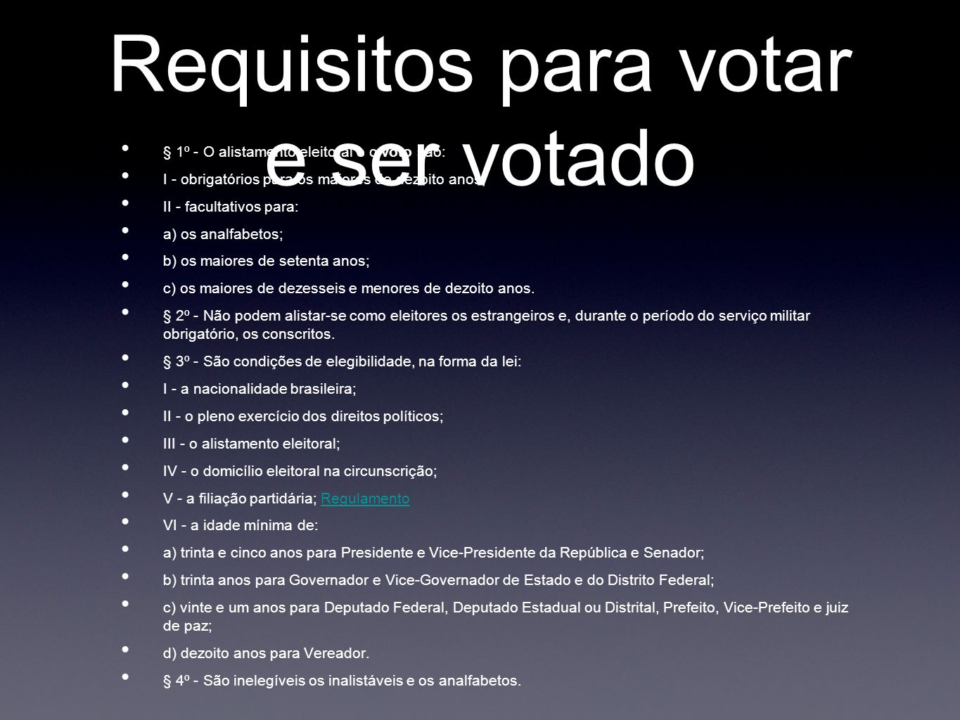 Requisitos para votar e ser votado