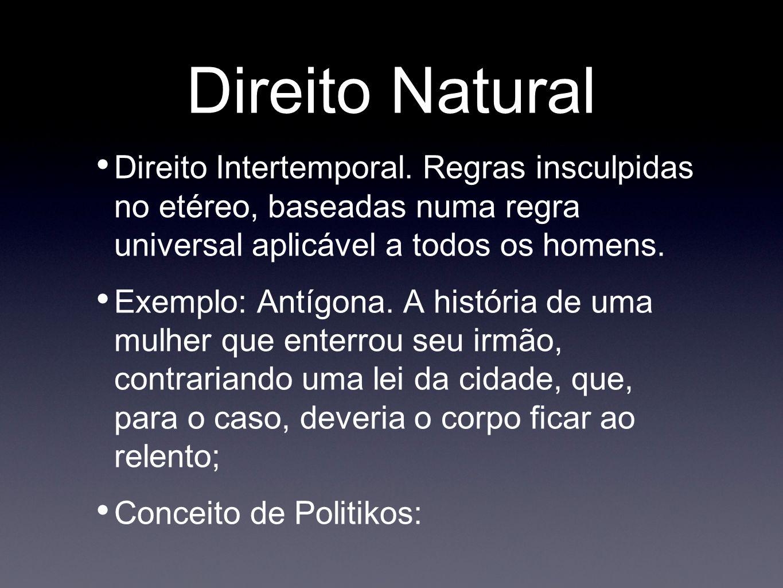 Direito Natural Direito Intertemporal. Regras insculpidas no etéreo, baseadas numa regra universal aplicável a todos os homens.
