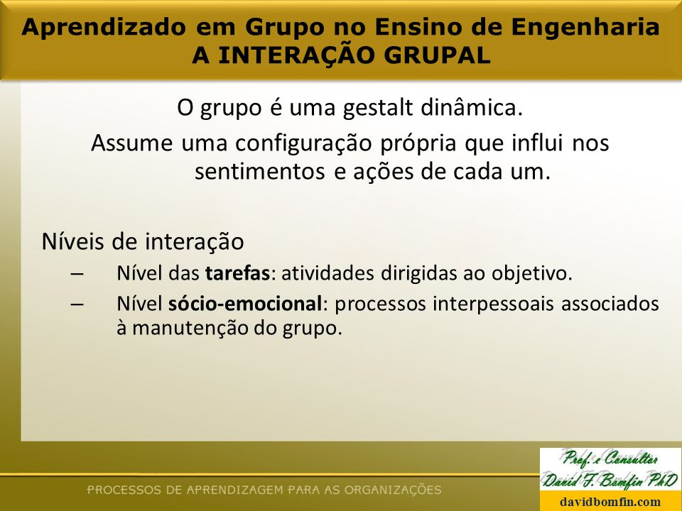 Aprendizado em Grupo no Ensino de Engenharia A INTERAÇÃO GRUPAL