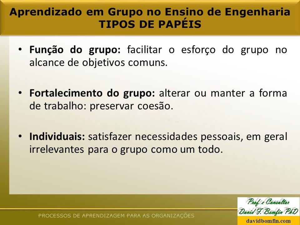 Aprendizado em Grupo no Ensino de Engenharia TIPOS DE PAPÉIS