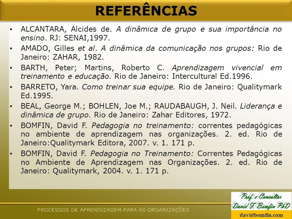REFERÊNCIAS ALCANTARA, Alcides de. A dinâmica de grupo e sua importância no ensino. RJ: SENAI,1997.
