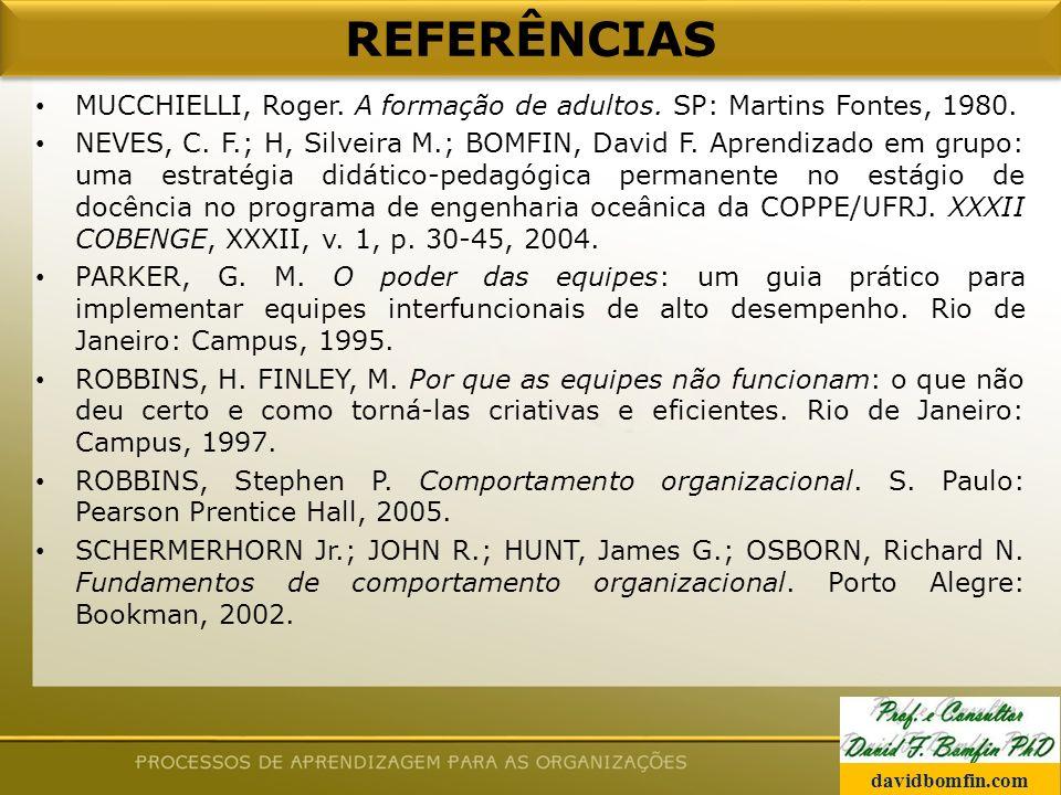 REFERÊNCIAS MUCCHIELLI, Roger. A formação de adultos. SP: Martins Fontes, 1980.