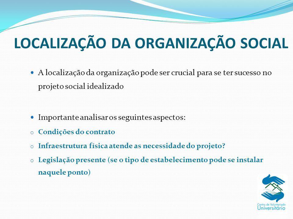 LOCALIZAÇÃO DA ORGANIZAÇÃO SOCIAL