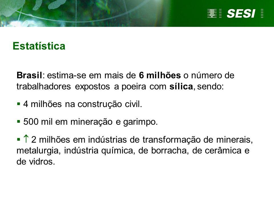 Estatística Brasil: estima-se em mais de 6 milhões o número de trabalhadores expostos a poeira com sílica, sendo: